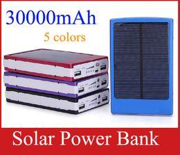 Wholesale External Laptop Bank - Portable 30000 mAh Solar Battery Panel external 3000mah solar Charger Dual Charging Ports 5 colors choose for Laptop Cellphone Power Bank
