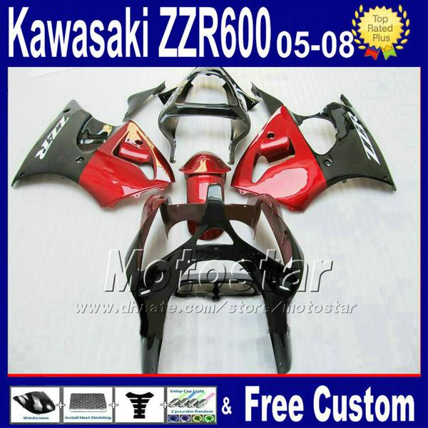 Customize fairing kit for kawasaki ZZR 600 05 06 07 08 ZZR600 2005 2006 2007 2008 red black bodywork fairings kits PT33