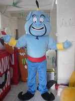 Wholesale Genie Aladdin Costumes - with one mini fan inside the head Deluxe adult blue aladdin genie mascot costume for adult to wear