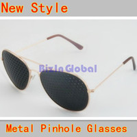 Wholesale Wholesale Pinhole Glass - Hot sale 10 X SimplyPinholes Gold Metal Frame Pinhole Corrective Eye Fatigue Relief Glasses (10 pcs  lot)