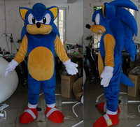 Wholesale Sonic Costumes For Adults - with one mini fan inside the head Deluxe adult sonic mascot costumes for adult to wear