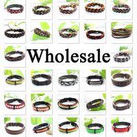 Wholesale Ethnic Braided Bracelet - 200PCS wholesale bracelets high quality tribal ethnic handmade braided genuine leather bracelet for man, for women