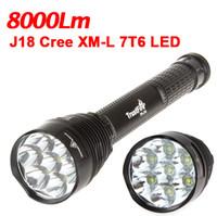 Wholesale Trustfire J18 Led - Super Bright LED Cree Flashlight Trustfire -J18 7*T6 8000 Lumens 18650 or 26650 Batteries 5 Modes Camping Flashlight Torch+Plastic bag