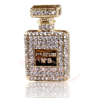 Wholesale Bottle Metal Flower - New 2pcs lot Alloy Iced Out Flat Back rhinestone perfume bottle for DIY fashion accessories Mobile phone shell DIY alloy parts