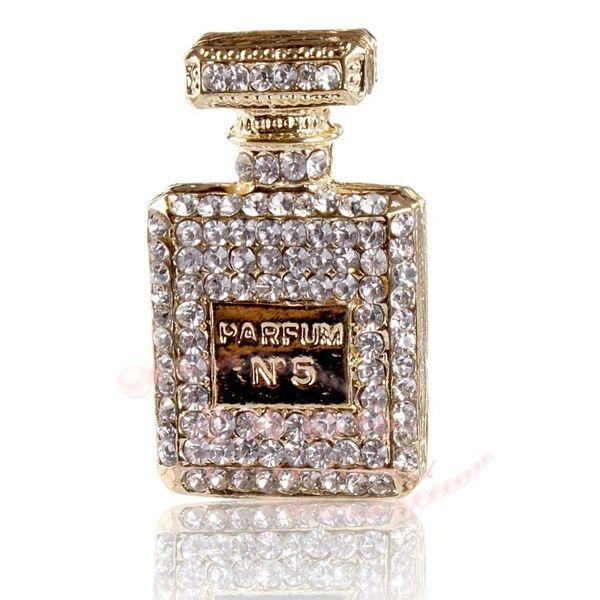 Nouveau 2pcs / lot alliage glacé Out Flat Back bouteille de parfum en strass pour accessoires de mode de bricolage Coquille de téléphone portable pièces en alliage DIY