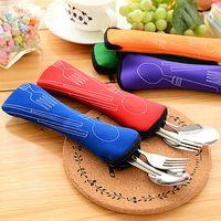 Wholesale Travel Dinnerware - Eco Friendly Foldable Chopsticks Fork Spoon Durable Stainless Steel Dinnerware Set Travel Supplies 5set lot SH339
