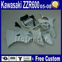 Wholesale Custom Kawasaki Motorcycle Parts - 7 gifts motorcycle parts fairing set form kawasaki custom 2005 2006 2007 2008 ZZR600 05-08 white black fairings set ZZR-600 05 06 07 08 xc68