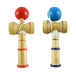 Wholesale Kendama Wood - 12.8CM Kendama Ball Japanese Traditional Wood Game Toy Education Gift 240pcs lot Sports & Outdoor Play Sports Toys Free shipping FEdex EMS