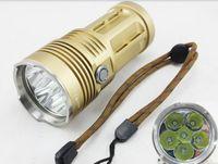 Wholesale Cree Skyray Led - Free shipping New SKYRAY KING Super Bright 8000 Lumen 3 Mode 6 x CREE XM-L T6 LED Flashlight - Golden (4 x 18650)