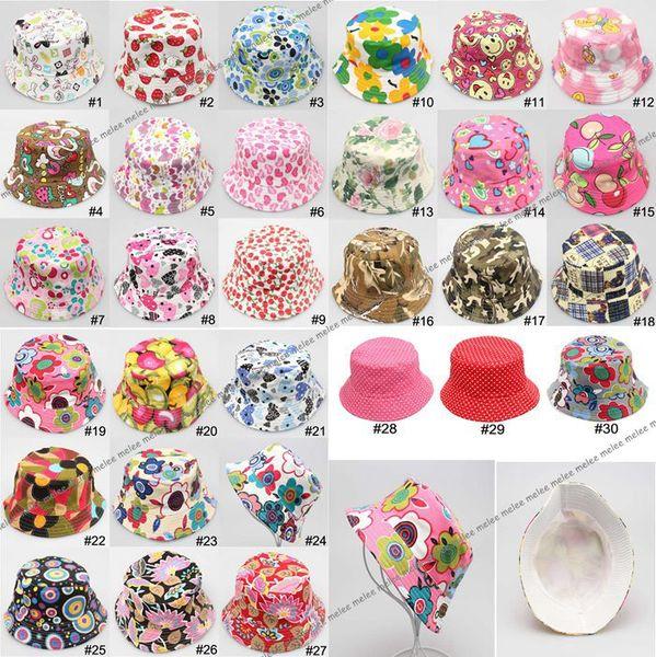 Çocuk Güneş Şapka Kova Şapka Çocuk Bere Şapka Caps Bebek Sunbonnet Çocuklar Topee Erkekler Ve Kızlar Sevimli Baskılı Havza Kap Moda Rahat Tuval Şapka ...