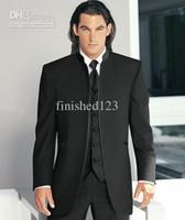 Wholesale Jacket Vest Tie Set - Custom Made Black Stand Collar Groom Tuxedos Groomsman Blazer Men Wedding Business Suits Sets (Jacket+Pants+Tie+Vest) OK:264