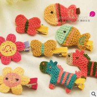 Wholesale Little Hair Clips - New 2014 Baby girls Children's hair accessories Children's women hair clips Little Weave cartoon horse hair clips 1290435371