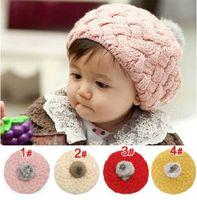 boina roja de las niñas al por mayor-Niños Gorras Bebé Apple Boinas Sombreros de Lana Para Chica MZ0195 Rosa Rojo Beige Amarillo