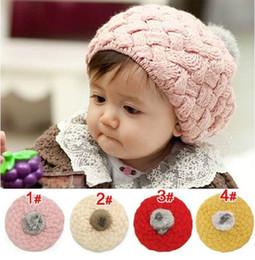 Wholesale Wholesale Baby Beret - Children Caps Baby Apple Berets Wool Hats For Girl MZ0195 Pink Red Beige Yellow