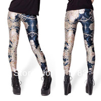 Wholesale Totem Leggings - S--XL New Arrival 2014 Women's Leggings Sexy Black Milk High Waist Flower Totem Print Leggings Brand Clothing For Womans LE-042
