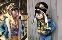 Wholesale Wholesale Winter Earmuffs - Baby Winter Caps Children Earmuffs Cap CamoFleece Aviator Hats Black Coffee