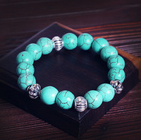 Wholesale Turquoise Spacer Beads - Turquoise Beaded Bracelet With 4pcs Tibetan Silver Spacer Bead Fashion Jewelry For Women Men, Stretch bracelet BEA0102