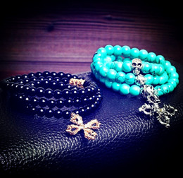 Wholesale Turquoise Spacer Beads - New Black Obsidian Turquoise Beaded Bracelet With Tibet Silver Skull Cross Charms Spacer Bead,Wrap bracelet,Beaded Necklace For Women Men