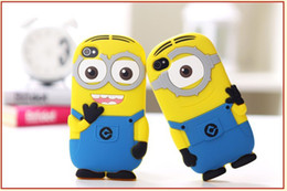 Wholesale Despicable Iphone 4s Cases - Free Shipping Wholesale Cute 3D Cartoon Case Soft Silicone Despicable ME2 Minions Yellow Boy Cover Case for iPhone 4 4G 4S iphone 5 5G