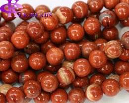"Wholesale natural jasper beads - Discount Wholesale Natural Genuine Red Jasper Round Loose Stone Beads 3-18mm Fit Jewelry DIY Necklaces or Bracelets 15.5"" 03474"