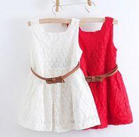 Wholesale Girls White Cotton Tank - 2017 Summer New Children Butterfly Korean Lace Vest Dress Girls Hollow Tank Dresses Bow Waistbelt Kids Pure Color Ruffle Dressy I0002