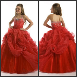 Wholesale Ball Gown Halter Beaded Bodice - 2014 Cute Lovely Ball Gown Watermelon Heavily Beaded Bodice Girls Pageant Gowns Hater Tiered Ruffled Tulle Flower Girls Dresses Vestidos