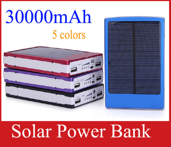 Portable 30000 mAh Solar Battery Panel external 30000mah solar Charger Dual Charging Ports 5 colors choose for Laptop Cellphone Power Bank