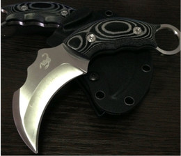 Wholesale Christmas Gift Pocket Knife - Scorpion Claw Karambit Pocket knife Fixed Blade combat camping Knives micarta handle leather shealth Christmas gift 1pcs freeshipping