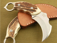 Wholesale Leather Knife Sheaths Wholesale - Scorpion Claw Karambit Pocket knife Fixed Blade combat camping Knives ABS K leather sheath Christmas gift 12pcs freeshipping