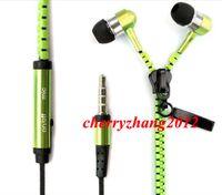 kopfhörer mikrofon lautstärkeregler großhandel-Stereo Bass Metall Zipper Kopfhörer Kopfhörer Headset In Ear mit Mikrofon und Lautstärkeregler für Samsung Handy