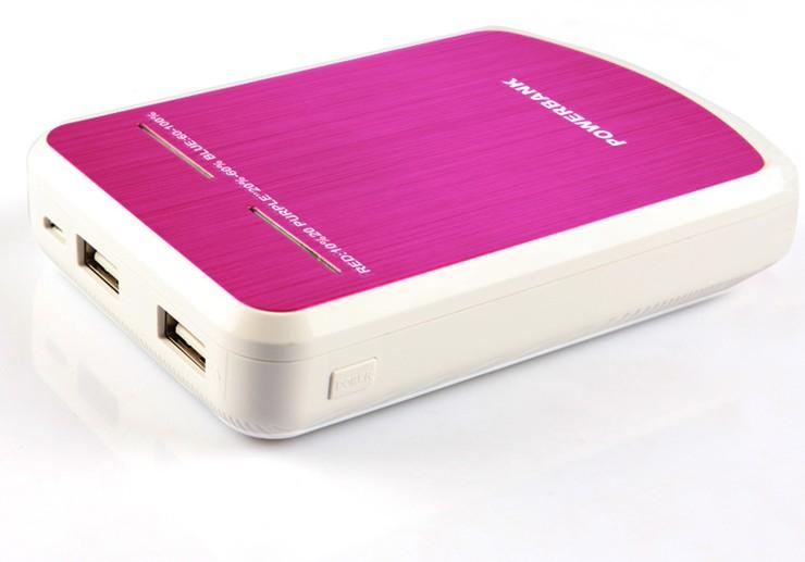 High-end power bank 12000mah exports, double usb, LED lights, universal spare 18560 storage battery