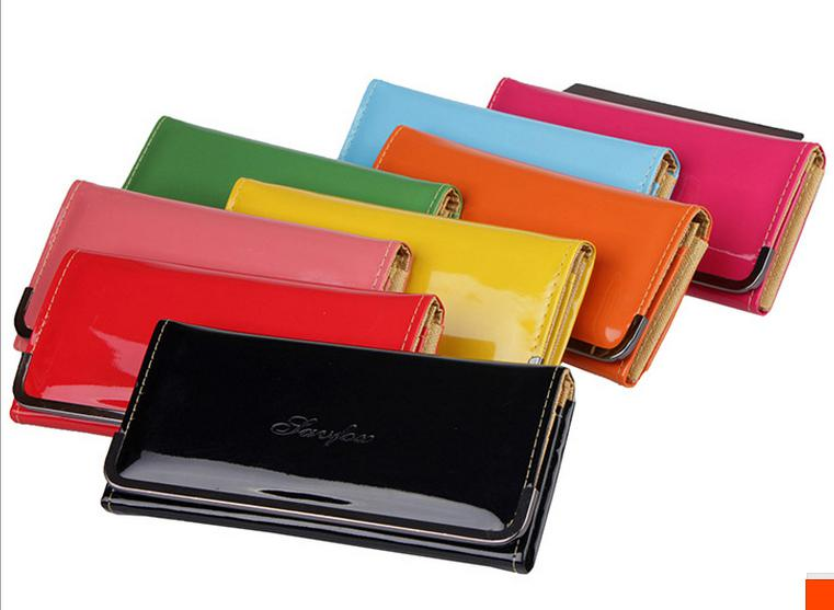c54487a2131 9 Candy Colors Fashion Concise Women s Wallet Genuine Patent Leather ...