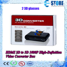 Wholesale 3d Converters - HDMI 2D to 3D 1080P High-Definition Video Converter Box for Amber  Blue Glasses wu