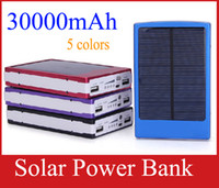 Wholesale External Laptop Chargers - Portable 30000 mAh Solar Battery Panel external Charger Dual 30000mah solar Charging Ports 5 colors choose for Laptop Cellphone Power Bank