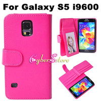 Wholesale S Flip Covers - Fashion Luxury Double Dual Layer Card Slot Slots Photo Frame Wallet PU leather Case Cover Folio Flip Pouch For Samsung Galaxy S5 S 5 i9600