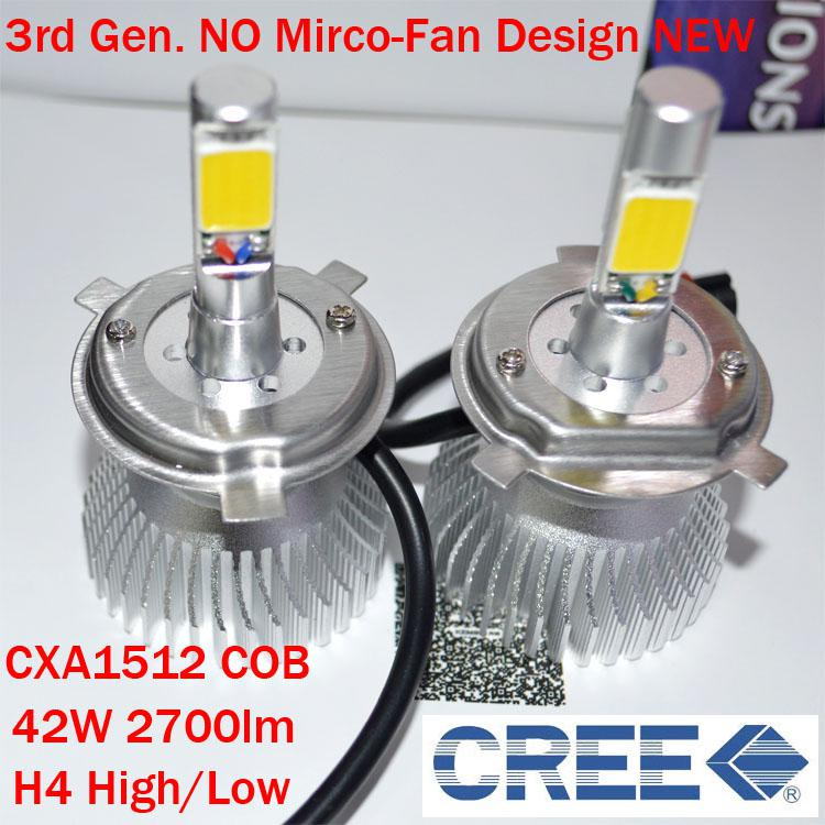H4 42w Cree Led Headlight High Low Cxa1512 Cob 2700lm White 6k 12 24v Car Truck Universal H1 H3