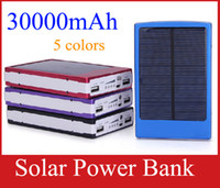 Wholesale Solar Panel Battery Mah - 30000 mah Solar Charger and Battery 30000mAh Solar Panel Dual Charging Ports portable power bank for All Cell Phone table PC MP3 10pcs