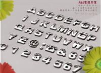 nummer auto aufkleber großhandel-Großhandels-200 PC Auto-Aufkleber-Auto-3D Emblem-Abzeichen-Aufkleber-Chrom-Buchstabe-Zahl