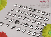 Wholesale Chrome Auto Letters - Wholesale-200 pcs Car Stickers Auto 3D Emblem Badge Sticker Chrome Letters Number