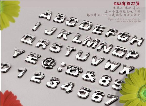 All'ingrosso-200 pezzi Adesivi per auto Auto 3D Emblem Badge Sticker Chrome Numero di lettere
