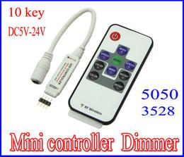 Wholesale Led Dimmer Mini Rf Wireless - LED Mini Controller Dimmer 10keys Wireless RF Remote RGB LED strip Controller 5-24V for LED Strip 5050 3528