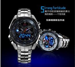Wholesale Tvg Steel Watch - Hot Selling TVG Men Full Steel Watches LED Digital Quartz Chronograph Watch 30m Waterproof Dive Sports Military Watches