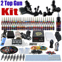 Wholesale Complete Professional Rotary Tattoo Kits - Complete Tattoo Kit 2 Pro Rotary Machine Guns 54 Inks Power Supply Needle Grips