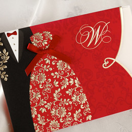 Wholesale Bridal Cards - Special Wedding Invitations Cards Folded with Red Bridal and Groom Dress Pattern Elegant Chinese Party Cards CW1051 Offered