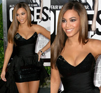 Wholesale Beyonce Sexy Gowns - Beyonce Sexy Black Mini Short Prom Dresses 2017 Sweetheart Backless Sequined Shinny Celebrity Dresses Hot Cocktail Club Party Gowns BO1372