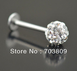 $enCountryForm.capitalKeyWord Canada - Free shipping,wholesales 20pcs Crystal clear Labret Lip Chin Bars Ring Stud Ball Tragus Stainless Czech Body Piercing