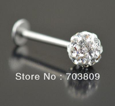 Free shipping,wholesales 20pcs Crystal clear Labret Lip Chin Bars Ring Stud Ball Tragus Stainless Czech Body Piercing