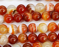 "Wholesale Discounts Bracelet - Discount Wholesale Natural Sardonyx Red Agate Round Loose Stone Beads 3-18mm Fit Jewelry DIY Necklaces or Bracelets 15.5"" 03511"