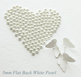 Wholesale Pearls Flatback - 10000Pcs WHITE Half Round Pearl Flatback cabochons beads for Scrapbook Craft 3mm ABS BMZZB03m