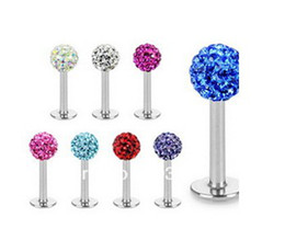 Free shipping,wholesales 20pcs mix 10 colors body piercing jewelry disco ball CZ crystal lip piercing labret bar labret ring